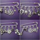 1 Wicca or Pagan  silver alloy  Kilt pin brooch - hare cauldron broom pentacle