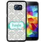PERSONALIZED RUBBER CASE FOR SAMSUNG S6 S7 S8 EDGE PLUS GRAY TEAL DAMASK ROSE