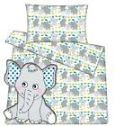 Baby toddler cot cot bed set duvet cover pillowcase 100%cotton grey elephants