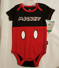Boys Infant Red/Black Mickey Mouse Creeper/Onecie: 0-3M--6-9M