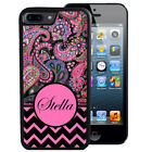 PERSONALIZED RUBBER CASE FOR iPHONE X 8 7 6 5 PLUS BLACK PINK CHEVRON PAISLEY