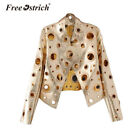 Punk Jacket Metal Ring Hollow Out Black Gold Long Sleeves Faux Leather Coat