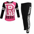 Girls PINK Rebel Cut Shoulder Kids Outfit Top & Leggings Age 7-13 Year