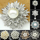 Alloy Flower Faux Pearls Brooch Pin Brooches Wedding Party Jewelry Gift Natural