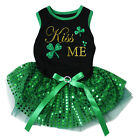 Kiss Me Clover Black Cotton Top Green Sequins Tutu Pet Dog Puppy Dress