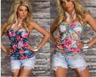 WOMENS LADIES FLORAL BANDEAU TUBE STRAPLESS SWEETHEART TEE SUMMER TOP SIZE 10