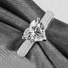 2CT HEART CUT D/VVS1 DIAMOND SOLID STERLING SILVER ENGAGEMENT RING  CR1-L14 ∆