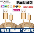 [2 PACK] Type-C Metal Braided USB-C Data Sync Charger Charging Cable Cord