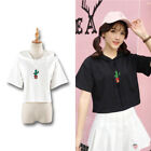 Cactus Embroidery Hooded T-shirt Cool Short Sleeve Black Tie Light Thin Cloth