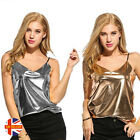 Womens Sexy Metallic Summer Vest Sleeveless Tank Gold Silver Solid V-Neck Top
