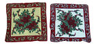 "Christmas Tapestry Cushion Cover Holly Poinsettia Red Green 17""x17"" Gold Silver"