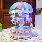 Fairy Horse Carousel Music Box Toy LED Light Clockwork Kids Children Gifts Toys