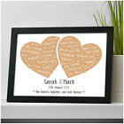 Personalised 1st 10th 25th 30th Golden 50th Wedding Anniversary Gifts ANY Year