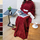 Soft Fleece Blanket with Sleeves and Front Pocket Robe Cloak Snuggie TV Blanket image