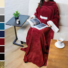 Fleece Snuggie Blanket with Sleeves and Front Pocket Robe Wearable TV Blanket image