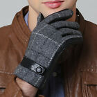 Men's Smart Touch Screen Wool / Genuine Leather Winter Gloves Gray & Black New