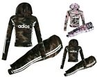 Girls Hooded  ADIOS Camouflage Top & Legging Set Kids Outfit Age 7-13 Years