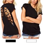 Sexy Short Sleeve Backless Cut Out Back Angel Wings Crew Neck Blouse Top T Shirt