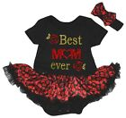 Mother's Day Best Mom Ever Black Cotton Bodysuit Red Lips Baby Dress NB-18M