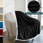 Sherpa Plush Fleece Throw Blanket for Sofa Couch Bed Reversible Chevron Pattern image