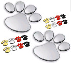 Silver / Red / Gold Dog Paw 3d Decal Stickers: Perfect For Cars, Walls, Laptops