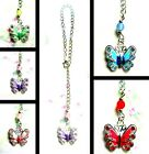 BUTTERFLY CAR REAR VIEW MIRROR DANGLE CHARM CHAIN HANGING ORNAMENT