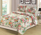Full/Queen or King Quilt Floral Pink Blue Orange Flowers Bedspread Bedding Set image
