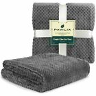 PAVILIA Throw Blanket For Sofa Couch Bed Lightweight Microfiber Waffle Pattern image