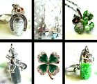 GOOD LUCK 4 FOUR LEAF CLOVER LUCKY HORSESHOE SWEEP KEYRING BROOCH EARRINGS
