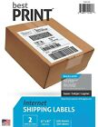 "Best Print ® 200 Shipping Labels Half Sheet 8.5 x 5"" 2 Per Sheet 80202100"