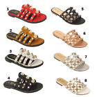 Ladies Women Open Toe Flip Flop Studded Cut Out Spiky Flat Summer Party Sandals