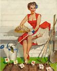Gil Elvgren-Worth Cultivating, Canvas/Paper Print, Pinup Girl