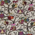 Forest Owl 100% Cotton Canvas Fabric
