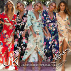 UK Womens Plunge Holiday Dress Ladies Summer Paisley Split Maxi Dress Size 6-16