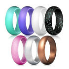 7PCS Lot Women Glitter Silicone Rubber Ring Band Rings Wedding Gym Jewelry Gift