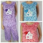 Ladies Cropped Pyjamas Animated Teddy Bear Character Patterned PJ Set Size 8 -20