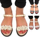 WOMENS LADIES FLOWER DIAMANTE JELLY FLAT FLIP FLOP ANKLE STRAP SANDALS SIZE 3-8