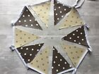 Outdoor Bunting Waterproof Oilcloth Handmade Cream Taupe Brown Chocolate Spots