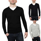 New Mens Ex High Street V Neck Jumper Cotton Pullover Knitted Plain Sweater Top