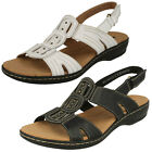 Ladies Clarks Leisa Vine Black or White Casual Leather Sandals - D Fitting
