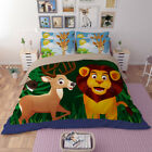Lion Duvet Doona Quilt Cover Set Single Queen King Size Flat Sheet Animal Bed