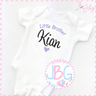 Personalised Baby Vest, Little Brother Embroidered Design, Bodysuit/Onsie Gift