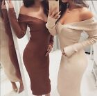 KIM KARDASHIAN Inspired Nude/Rust Off-Shoulder Long Sleeve Sweater Dress S, M, L