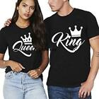 Men O-Neck Short Sleeve King Letter Crown Print Casual Couple T-Shirts LEBB
