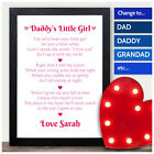 DADDY'S Little Girl PERSONALISED POEM Fathers Day Gifts from Daughter Presents