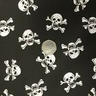 Poplin PolyCotton Fabric Black White Skulls Bats Spiders Scary Halloween Gothic