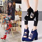 Women Fashion Pointed Toe Ankle Boots PU Block Heel Zip Size 5-12 Sexy Shoes