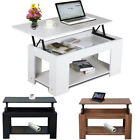 New Modern Lift Up Top Coffee Table with Storage & Shelf Teak/ White/ Black