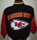 """""""KANSAS CITY CHIEFS"""" Suede Jacket with Sewn Logos LARGE  Black & Red on eBay"""
