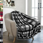 Christmas Holiday Winter Cabin Blanket Flannel Striped Plaid Soft Sherpa Throw  image